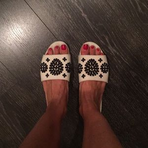 Fabric and embroidered slides, gently used